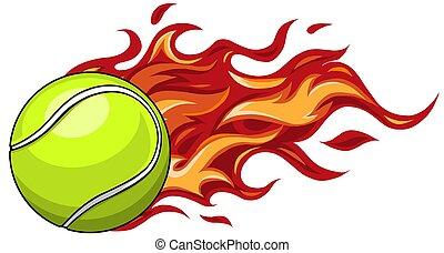 flygning, tennis, eld, luft, boll, lidelsefull, genom
