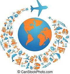 flygning, värld, omkring