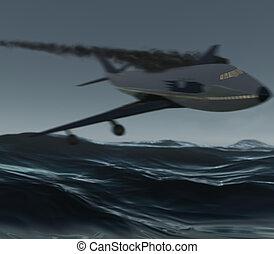 flygplan, över, den, insjö
