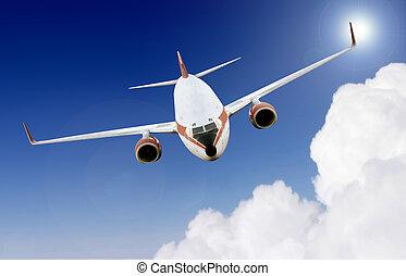 flygplan, in, den, sky