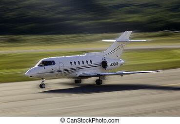 flygplan, landstigning
