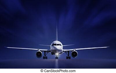 flygplan, på, landningsbana