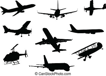 flygplan, silhuett, kollektion