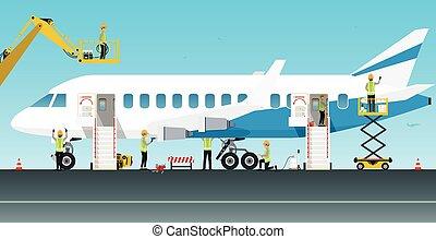 flygplan, underhåll iscensättar