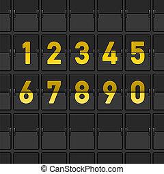 flygplats, instrumentbräda, numrerar