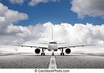 flygplats, plan, start