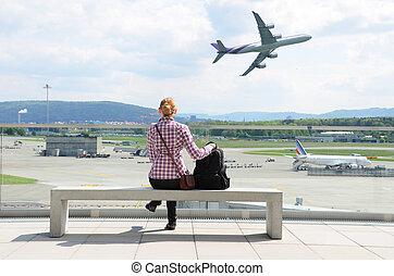 flygplats, scen