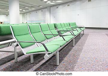 flygplats, väntan, sal