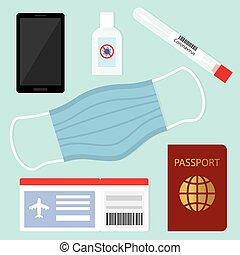 flyight travel during coronavirus pandemic, protective measures, swab test, face mask, antibacterial gel - vector illustration