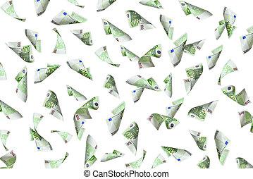 flying 100 euro bills on white background