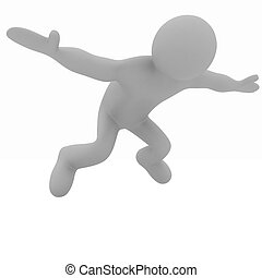 Flying 3d man on white background