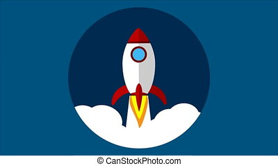 flying a rocket into the sky in a flat design