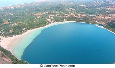 flying above beautiful Lake Kournas at Crete - Aerial view...