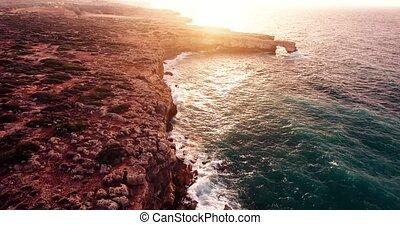 flying above beautiful sea shore - fliying above beautiful...