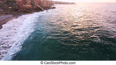 flying above beautiful sea shore
