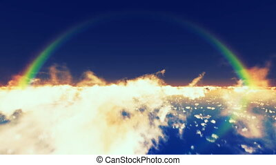 rainbow - flying above clouds with rainbow