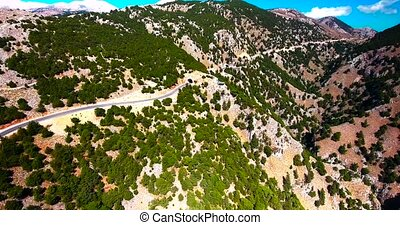 flying above gorge in mountains - flying above beautiful...
