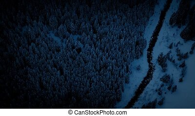 Flying Above Icy River At Night