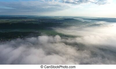 flying above landcape with mist - flying above beautiful ...