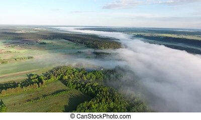 flying above landcape with mist - flying above beautiful...