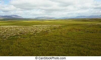 Flying above lush summer landscape at Iceland