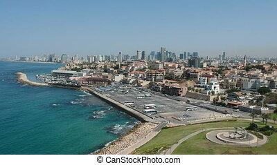 Flying above Tel-Aviv Jaffa shot clip