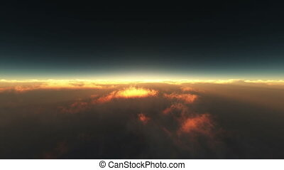 flying above the clouds sunrise 4k