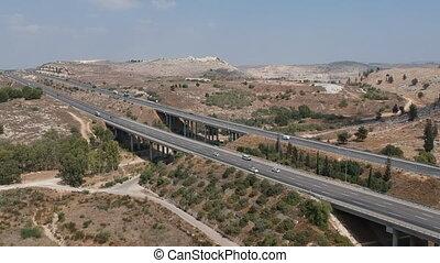 Flying Above Yitzhak Rabin Highway shot clip