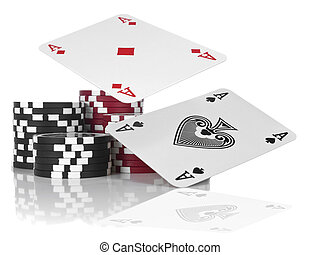 Two aces flying over piles of gambling chips. Isolated on white.