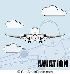 Flying air plane vector illustration