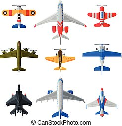 Flying Aircrafts Collection, Various Civil and Military Airplanes, View from Above, Air Transport Vector Illustration