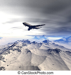 flying airliner in a winter landscape