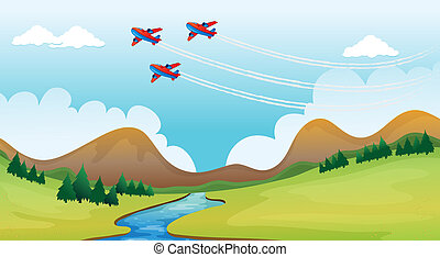 Flying airplains and a beautiful landscape - Illustration of...
