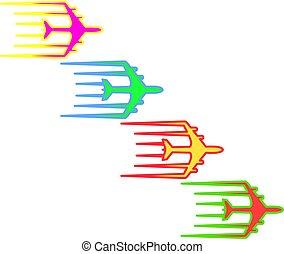 Flying airplane Airliner jet transport icon illustration