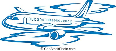 Flying airplane in blue clouds. Vector illustration