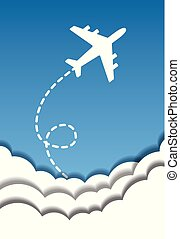 Flying airplane on a background of blue sky and cut out paper clouds in origami style. Vector