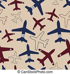 Flying airplane, vector illustration.