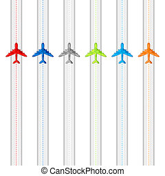 Flying Airplanes - illustration of route showing flying of...