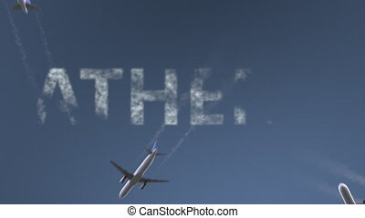 Flying airplanes reveal Athens caption. Traveling to Greece...