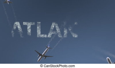 Flying airplanes reveal Atlanta caption. Traveling to the United States conceptual intro animation