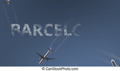 Flying airplanes reveal Barcelona caption. Traveling to...