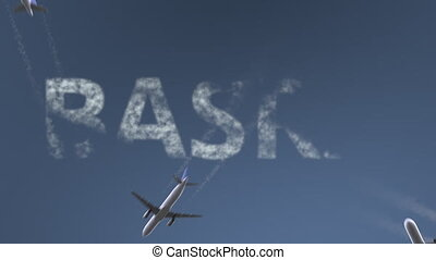 Flying airplanes reveal Basra caption. Traveling to Iraq...
