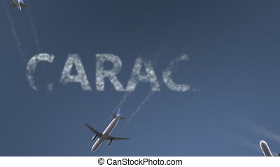 Flying airplanes reveal Caracas caption. Traveling to...