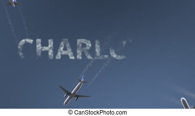 Flying airplanes reveal Charlotte caption. Traveling to the...