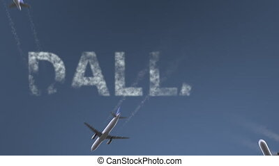 Flying airplanes reveal Dallas caption. Traveling to the United States conceptual intro animation