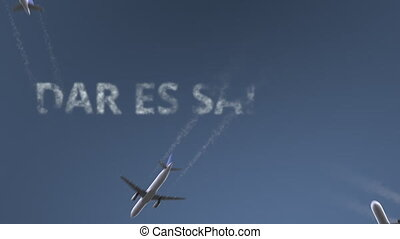 Flying airplanes reveal Dar es Salaam caption. Traveling to...