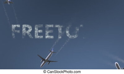 Flying airplanes reveal Freetown caption. Traveling to...