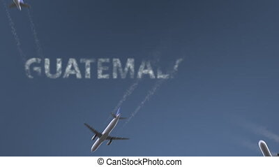 Airplanes reveal Guatemala City caption. Traveling to Guatemala conceptual intro animation