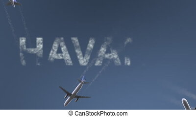 Flying airplanes reveal Havana caption. Traveling to Cuba...
