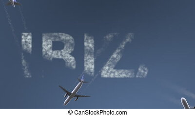 Flying airplanes reveal Ibiza caption. Vacation travel...